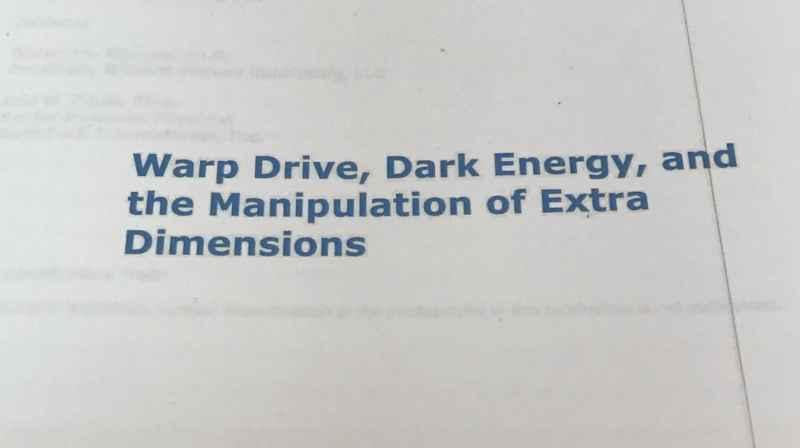 19 Document Warp Drive Dark Energy Etc
